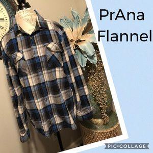 PrAna Blue Plaid flannel button up shirt